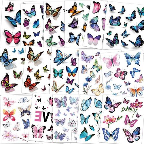 Konsait Kids Tattoos Butterfly Temporary Tattoos, Fake Tattoo Sticker for Girls Kids Women Children's Birthday Party Bag Filler Gift Birthday Girls Party Favors, 16 Sheets