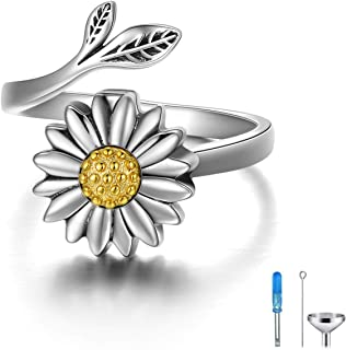 Sunflower Cremation Ring for Ashes 925 Sterling Silver Daisy Urn Ring Jewelry Keepsake Hair Memorial Locket for Women Mom
