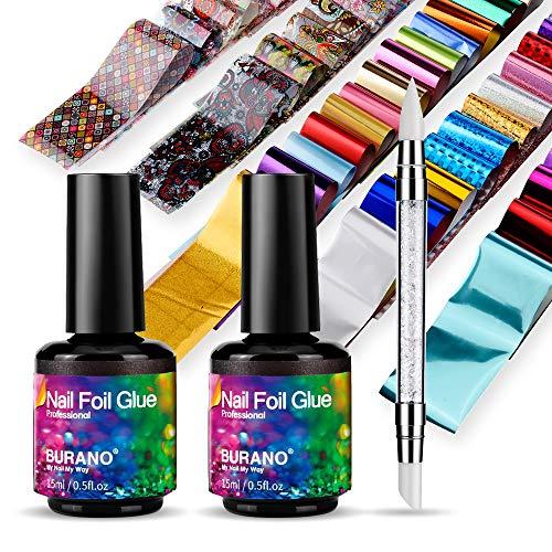 BURANO Nail Art Foil Glue Gel, 15ML 2 Bottles with 60PCS Starry Sky Star Foils Sticker, Nails Designer Adhesive Transfer Art UV LED Lamp Required Fall Winter