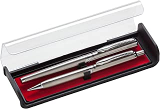 Pentel Libretto Roller Gel Pen and Pencil Set with Gift Box, Pen 0.7mm and Pencil 0.5mm, Silver Barrels (K6A8Z-A)