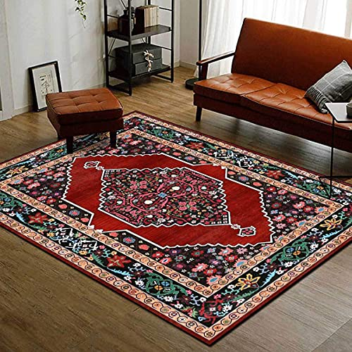 Alfombra de área rectangular, patrón geométrico Alfombra de área grande de estilo persa tradicional, alfombras de arte abstracto de flores para alfombra de puerta, entrada, dormitorios, decoración
