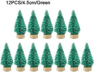 Hemistin 12pcs Mini Árbol De Navidad Sisal Seda En La Torre De Nieve Pino Base De Madera Diy Pequeño Árbol De Navidad Decoración Del Hogar gaudily