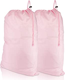 DALIX Large Travel Laundry Bag for Camp College Drawstring Bags 2 Pack Pink