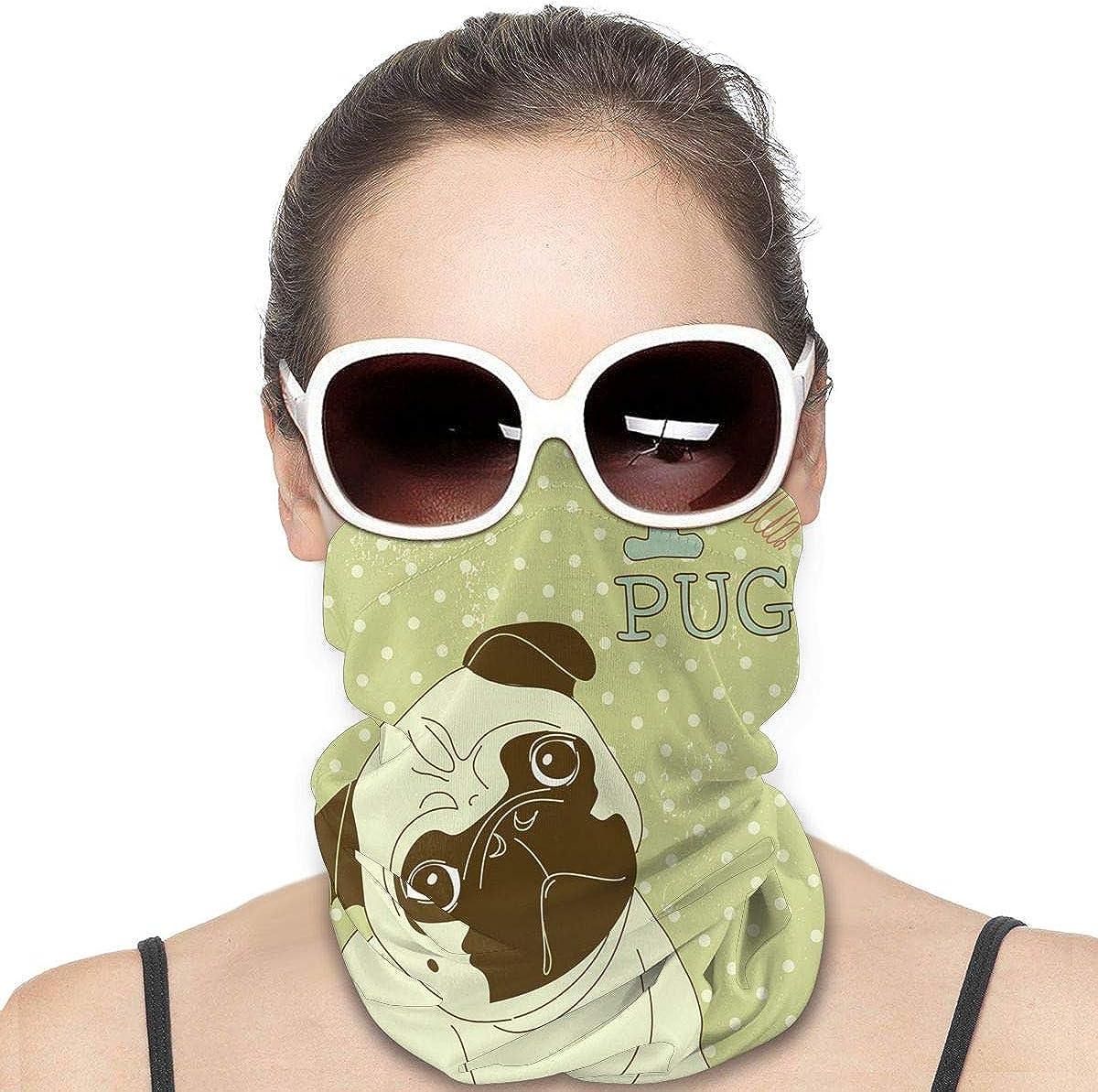 JinSPef Balaclava Sun Protection Face Mask - Pug Little Dog with Tilted Head Bandana Face Mask Bandana Face Mask Face Scarf Head Bands Neck Warmer Men Headbands Neck Warmer for Men
