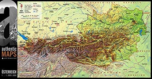 Vogt Foliendruck GmbH 3D - Landkarte Österreich 67,5 x 35 cm Karte Austria