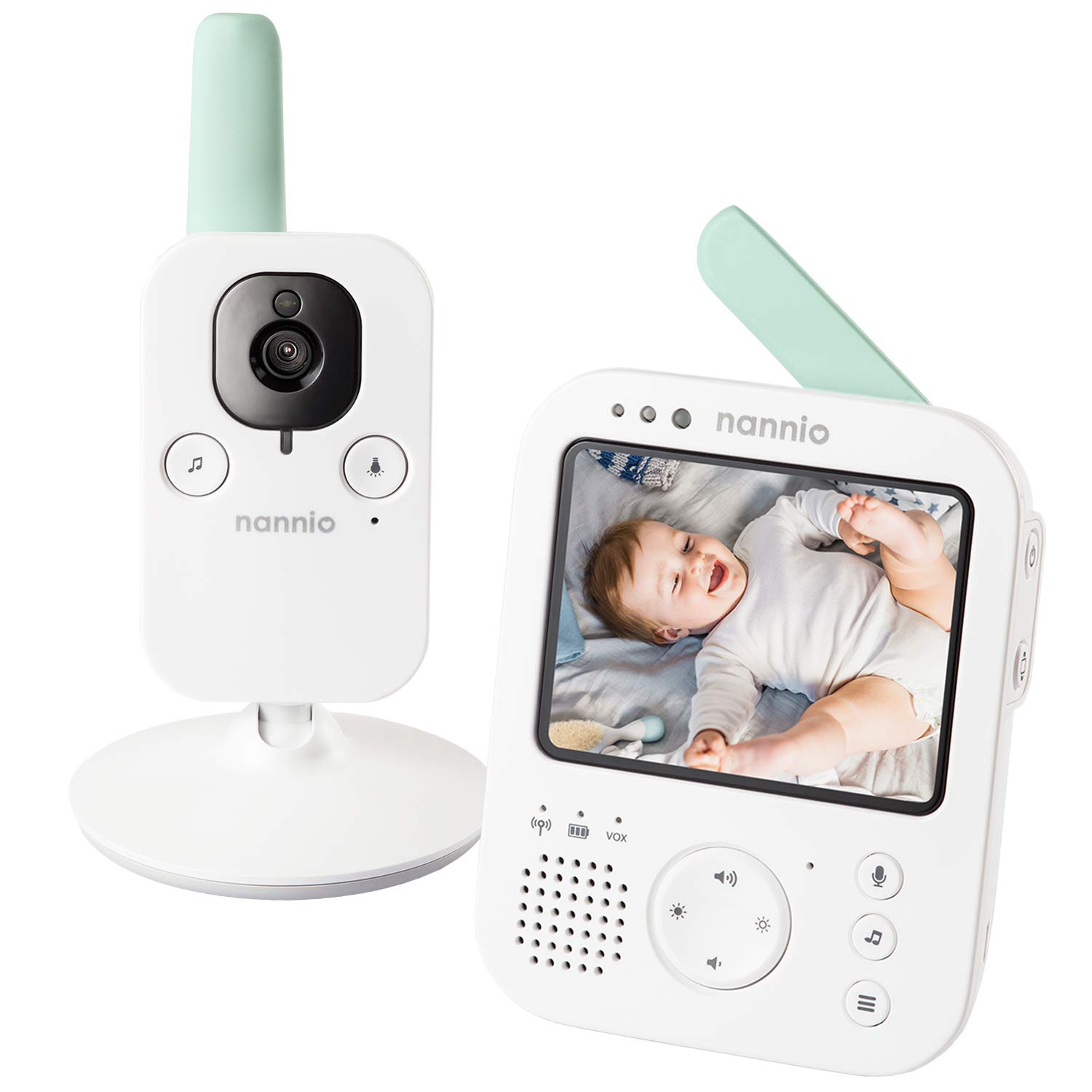 nannio Hero3 Video Baby Monitor with Vibration Alerts, Sound Activated, Infrared Night Vision Camera, 5 Lullabies, Temperature Sensor, Two-Way Talk - 985ft Range