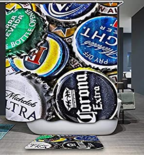 GoJjeek Beer Bottle Cap Collection Shower Curtain (72''' 72''')