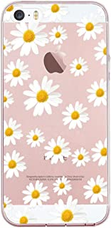 JIAXIUFEN Clear Slim Shockproof Flower Floral Pattern Soft Flexible TPU Silicone Back Cover Phone Case Compatible with iPhone 5 5S SE - Little Daisies