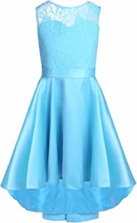 TiaoBug Big Girls' Floral Lace High-Low Ball Prom Flower Girl Dress Bridesmaid Pageant Party Dress