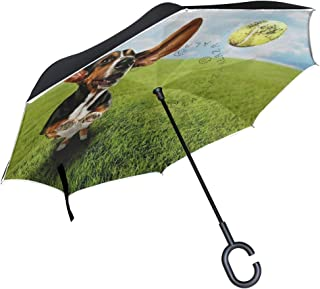 LOIGEIDQ Inverted Umbrella,Basset Hound Dog Chasing Tennis Ball Print Double Layer Reverse Umbrella,Windproof UV Protection Big Straight Umbrella with C-Shaped Handle and Carrying Bag