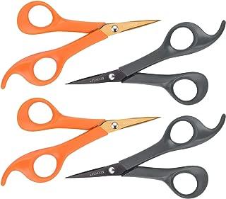 KUONIIY Micro-Tip Scissors,6 Inch Pointed Comfort-Grip Handles Sharp Titanium Blades, 4-Pack