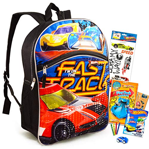 Toys Hot Wheels Backpack for Kids Activity Set Bundle ~ Deluxe 16' Backpack, Mini Coloring Book with Stickers, Hot Wheels Decals, and Hot Wheels Flick Car Blind Bag (Hot Wheels School Supplies)