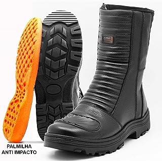 Bota Motociclista Masculino Couro Atron Shoes Preto