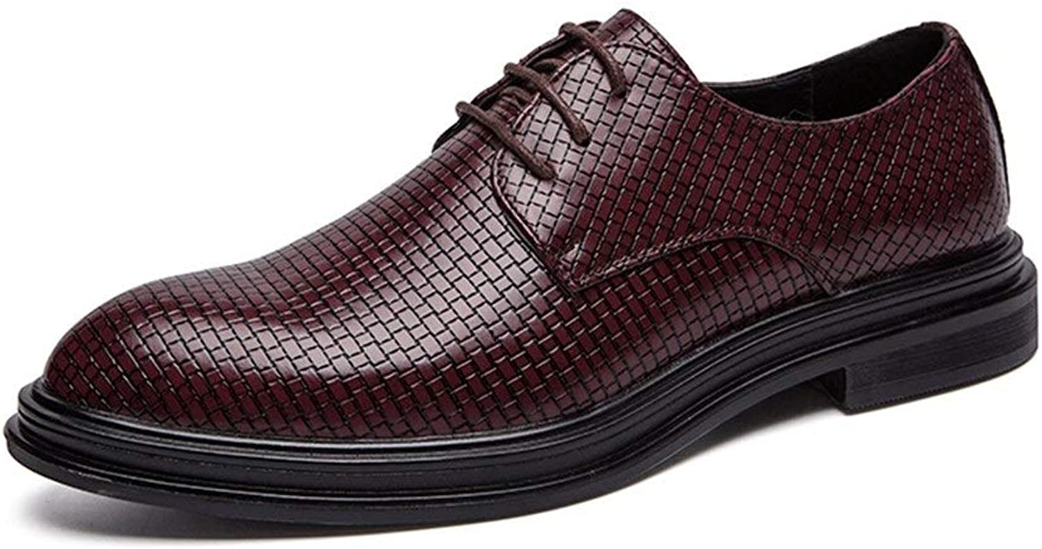 Fashion Lace Up Style Microfiber Leather Fashion Woven Texture Pure colors Outsole Oxford shoes for Men Formal shoes Men's Boots (color   Red, Size   6.5 UK)