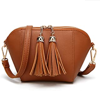 Runhuayou New Women's Solid Colour Tassel Leather Bag Elementary Fashion PU Shoulder Bag Handbag Cute Adjustable Shoulder Strap Messenger Bag Great for Casual or Many Other Occasions Such