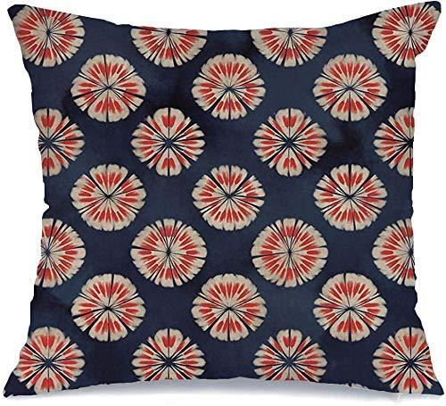 Decoración Throw Pillow Cover Funda de cojín Navy Medallion Abstract Petaled Dots Floral Red Indigo Único Artístico Dyed Blots Colores Creative Funda de Cojine 45 X 45CM