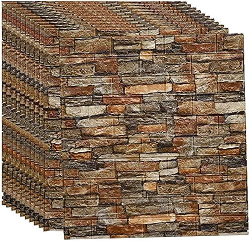 Brick Wallpaper, 77*70cm Tiles 3D Brick Wall Stickers, 3D Brick Wallpaper Self Adhesive PE Foam, DIY Stone Embossed Brick, Wall Tile Transfers Sticker for Home Decor(Color:Brick yellow,Size:20pcs)