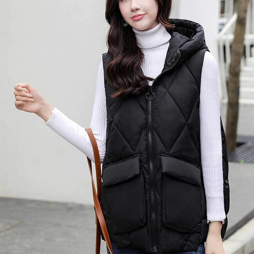 RSTJ-Sjc Women Quilted Zip Gilet Hooded Sleeveless High Neck Vest Jacket Down Cotton Vest Female Winter Casual Down Faux Loose Cotton Vest Thick Coat Ideal for Cold Weather,Black,XXXL