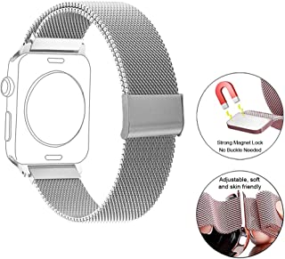 Compatible for Apple Watch Band 38-44mm Strap Mesh Stainless Steel for Replacement iWatch Band Series1-4 (Silver, 38mm/40mm)