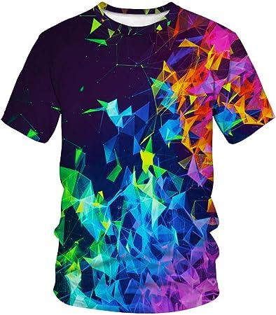 Hombre 3D Graphic Print Camisetas Gradiente Textura triángulo ...