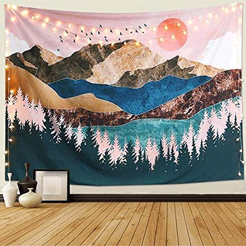 Sunset Tapestry, Forest Tree Tapestry Toalla De Pared De Tela MontañA Colgante De Pared PsicodéLico Naturaleza Paisaje Tapiz DecoracióN para Dormitorio Sala De Estar