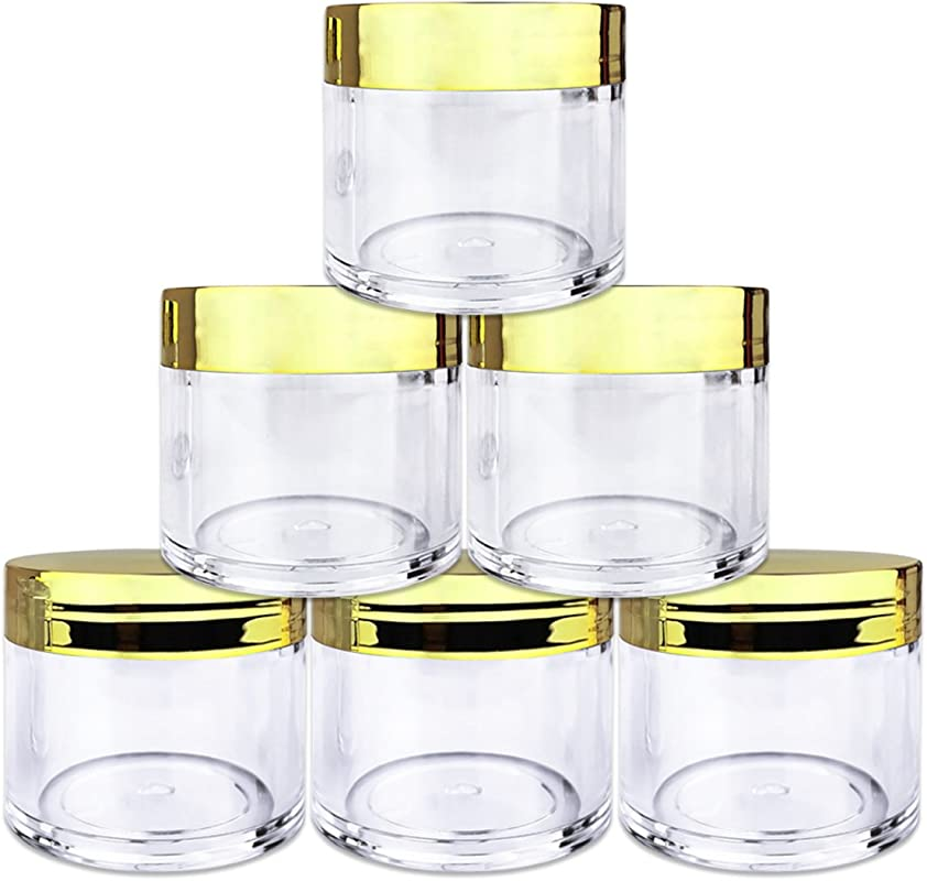 Beauticom 6 Pieces 30G 30ML 1 Oz Round Clear Jars With Metallic GOLD Flat Top Lids For Herbs Spices Loose Leaf Teas Coffee Other Foods BPA Free