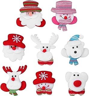 STOBOK 8pcs LED Light Up Brooch Christmas Brooch Pins Santa Bear Reindeer Snowman Badge Brooch for Kids Gift Party Favors