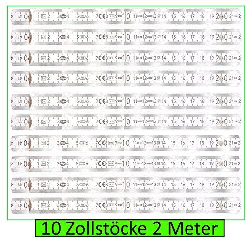 10 Stck Zollstock 2m, 10 Glieder, weiss, Gliedermaßstab