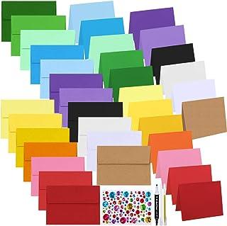 108 Sets Bulk 18 Colors 4x6 Envelopes Self Seal A6 Invitation Envelopes Greeting Cards Photo Envelopes with Blank A6 Folde...