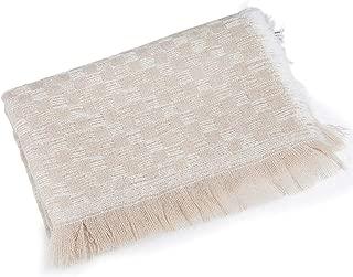 WUNONG-AU Korean Version Autumn Winter Gold Velvet Tassel Plaid Scarf Thick Keep Warm Shawl Plush Scarf (Color : Beige, Size : 180cm)