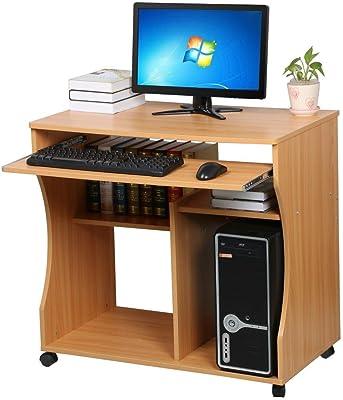 Popamazing Wood Small Computer Desk Trolley Cart Pc Laptop