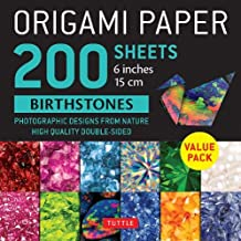 """Origami Paper 200 sheets Birthstones 6"""" (15 cm): Photographic Designs from Nature: High-Quality Double Sided Origami Sheet..."""