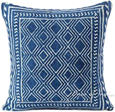 Eyes of India - 20 Indigo Blue Block Print Dhurrie Sofa Decorative Pillow Throw Cushion Cover Floor Couch Colorful Boho Seating Bohemian Indian Cover ONLY