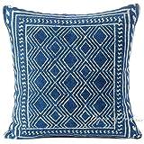 Eyes of India - Almohada Decorativa Bloque Estampado Cojín Funda Suelo Sofá Manta de Colores Bohemio Elegante Indio Bohemia Adorno Hecho a Mano Cubierta - Azul, 20 X 20 in. (50 X 50 cm)