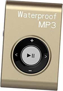 Prettyia Mp3 Music Player FM Radio Stereo Audio with Clip Lossless IPX8 Waterproof - Gold