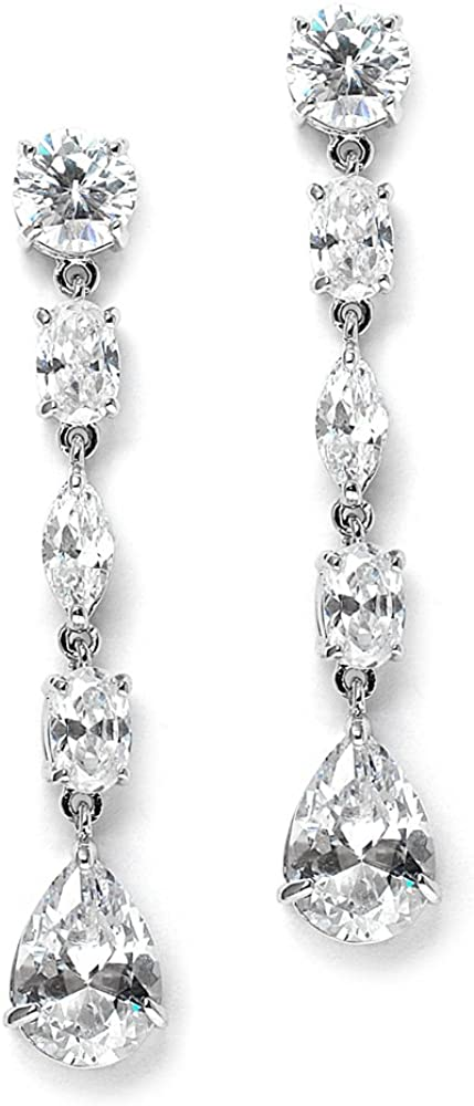 Mariell Cubic Zirconia Bridal Dangle Earrings Wedd Max 69% OFF New Shipping Free for