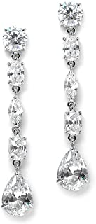 Mariell Gorgeous Linear Mix-Shape Cubic Zirconia Bridal, Prom & Holiday Dangle Earrings - Platinum Plated