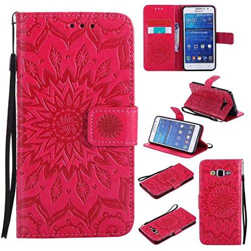 BoxTii Coque Galaxy Grand Prime, Etui en Cuir de Première Qualité, Housse Coque pour Samsung Galaxy Grand Prime (#5 Rouge)