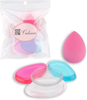 Codream Set of 5 Silicone Makeup Sponges Set with Foam Foundation Sponge Soft Medical Silicone can Reach all the Corners of Face (Hot Pink + Blue + Transparent)