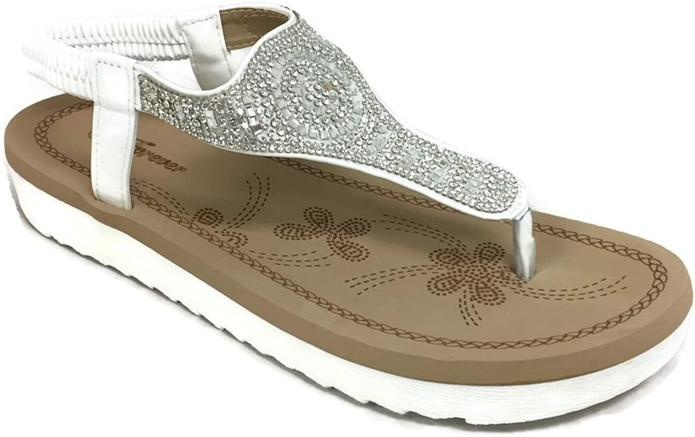 Forever Fashion Irena Womens Crystal Sandal Comfort Platform Slip On Elastic Heel Strap