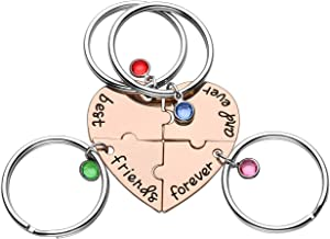 Jovivi Best Friends Forever and Ever Friendship Necklaces Keychains for 3/4,Alloy Heart Matching Puzzle Piece BBF Friendship Jewelry