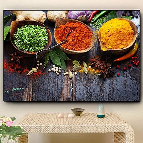 Canvas schilderij decoratie, Kleurrijke Grains Spices Peppers Keuken Olieverf affiches en drukken Wall Art Eten Picture Living Room Canvas Schilderijen (Size (Inch) : 30X45CM)