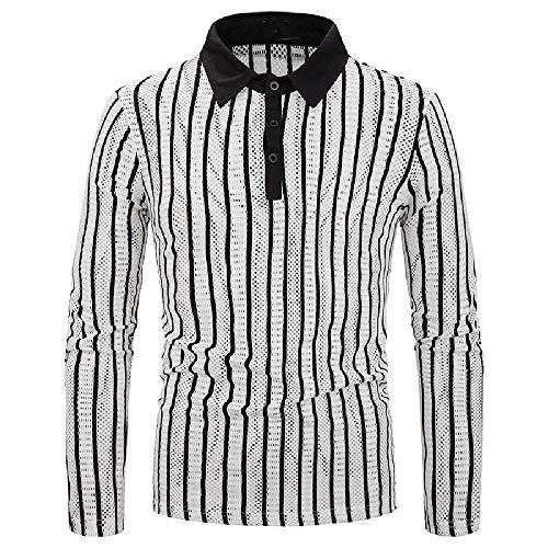 Camiseta de manga larga para hombre con rayas verticales