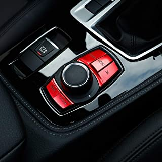 Auto Multimedia Knopf Abdeckung Knopf Rahmen Dekoration Trim für 1 2 3 Serie F30 GT F34 4er F32 F33 F36 X1 F48 X3 F25, rot
