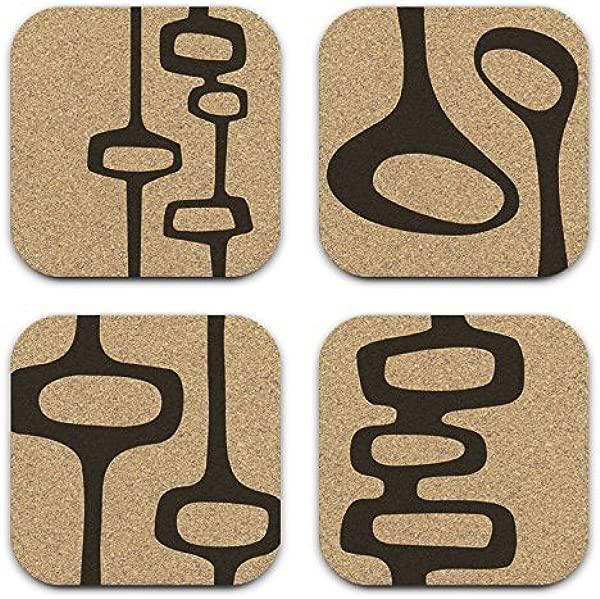 Mid Century Modern Retro Abstract Cork Coaster Gift Set