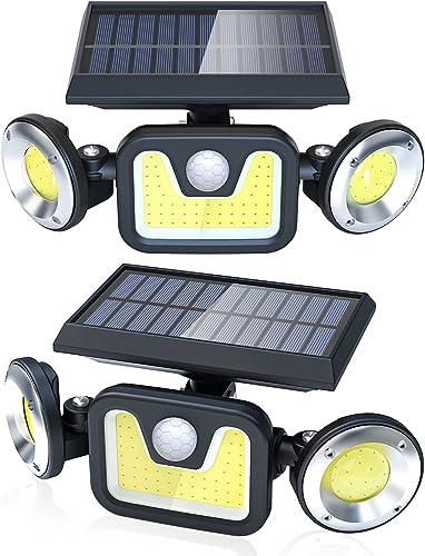 Luz Solar Exterior Lámpara Impermeable 83LED-450lumen, Ltteny 2-Paquete Focos Led Exterior Solares de Movimiento Gran...