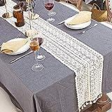Makramee-Tischläufer aus Baumwolle, gehäkelte Spitze, Tischläufer mit Quasten, Vintage-Tischläufer, Bohemian-Stil, für Hochzeit, Braut-Esstisch (24 x 240 cm) - 2