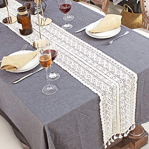 Macrame Table Runner, Cotton Crochet Lace Table Runner with Tassels, Vintage Wedding Table Runner Bohemians Dining Room Style for Wedding Bridal Dining Table(24x180cm)