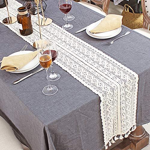 Makramee-Tischläufer, Baumwolle Häkelspitze Tischläufer mit Quasten, Vintage Hochzeit Tischläufer Bohemians Esszimmer Stil für Hochzeit Brauttisch, 24x200cm