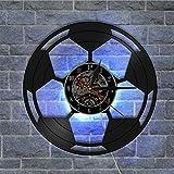 OOFAY Clock@ Records Pendules Vinyl Horloge LED Football Décoration 3D Thème Style Familles Chambre Salon Restaurant/30CM*30CM*5CM